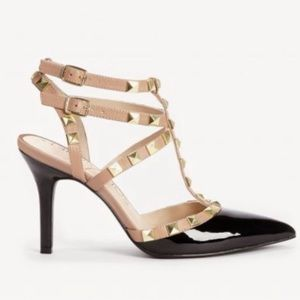 ROCK STAR STUD HEELS BCBG Black Patent Tan Ankle